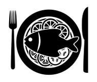 Рыбы и овощи вектора на плите Стоковое Изображение
