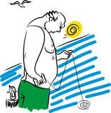 Рыбы и рыболов иллюстрация вектора