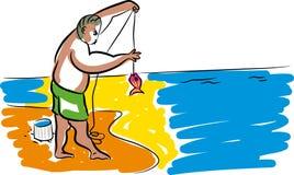 Рыбы и рыболов иллюстрация штока