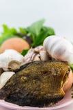Рыбы и яичка с овощами на изолированном шаре Стоковые Фотографии RF