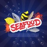 Рыбы, краб и омар установленного дизайна морепродуктов плоские также вектор иллюстрации притяжки corel Стоковое Изображение
