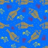 Рыбы моря и краб подводные, безшовная картина Бесплатная Иллюстрация