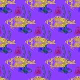 Рыбы моря и краб подводные, безшовная картина Иллюстрация штока
