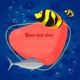 Рыбы моря на яркой предпосылке с местом для вашего текста также вектор иллюстрации притяжки corel Стоковое Изображение RF