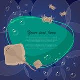 Рыбы моря на яркой предпосылке с местом для вашего текста также вектор иллюстрации притяжки corel Стоковая Фотография