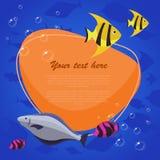 Рыбы моря на яркой предпосылке с местом для вашего текста также вектор иллюстрации притяжки corel Стоковые Фото