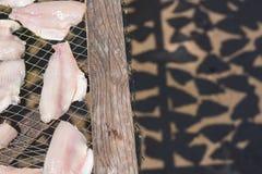 Рыбы на гриле, который нужно высушить по солнцу Селективный фокус Стоковые Изображения