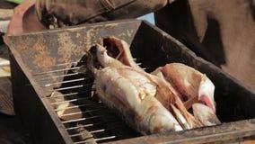 Рыбы подготовки руки старика для курения или жарить Варящ скумбрию в коптильне на открытом воздухе сток-видео