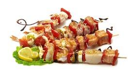 Рыбы продукта моря и bbq креветки Стоковые Изображения RF