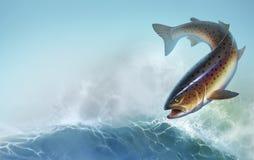 Рыбы радужной форели на иллюстрации предпосылки реалистической Деликатес форели Дикие рыбы реки на предпосылке волн реалистическо бесплатная иллюстрация