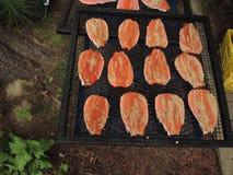Рыбы радужной форели готовые для того чтобы куриться Стоковое Изображение RF