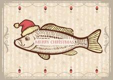 Рыбы рождества в шляпе красного цвета Санты. Винтажный рисуя ca Стоковое фото RF