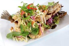 Рыбы с зеленым салатом манго Стоковые Изображения