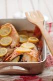 Рыбы утеса испеченные с лимоном Стоковая Фотография