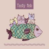 Рыбы шаржа на плите Стоковое Изображение RF