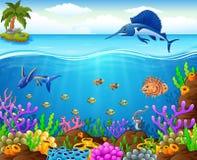 Рыбы шаржа под морем иллюстрация штока