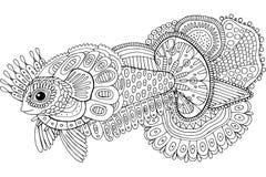 Рыбы Doodle сюрреалистические Художественное произведение чернил руки мультфильма вычерченное Крася страница для взрослых r иллюстрация вектора