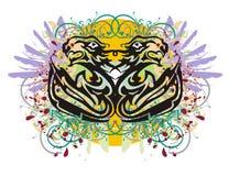 Рыбы Grunge стилизованные и головы львов Стоковые Фотографии RF