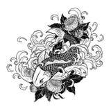 Рыбы Koi и татуировка хризантемы вручную рисуя Стоковое Изображение RF