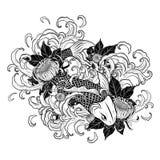 Рыбы Koi и татуировка хризантемы вручную рисуя Стоковая Фотография
