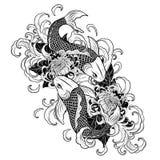 Рыбы Koi и татуировка хризантемы вручную рисуя Стоковая Фотография RF