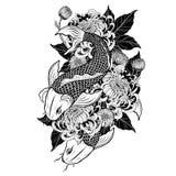 Рыбы Koi и татуировка хризантемы вручную рисуя Стоковые Изображения