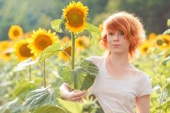 Рыжеволосая девушка обнимая высокорослый солнцецвет на заходе солнца, молодую redheaded женщину в поле солнцецветов обнимая солнц стоковые фотографии rf