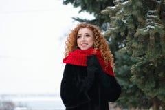 Рыжеволосая девушка outdoors в зиме стоковое изображение