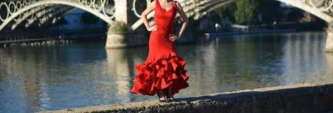 Рыжеволосое фламенко танцев девушки около реки на солнечный день Стоковое Фото