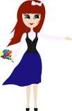 Рыжеволосая девушка с букетом Стоковая Фотография RF