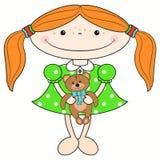 Рыжеволосая девушка с медведем Стоковые Фотографии RF