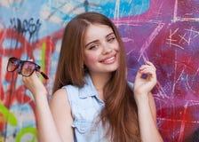 Рыжеволосый битник девушки Стоковое фото RF