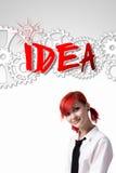 Рыжеволосый изобретатель девушки стоковое изображение