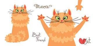 Рыжий кот Характер красного котенка в стиле шаржа также вектор иллюстрации притяжки corel Стоковое Изображение RF