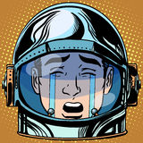 Рык Emoji разрывов смайлика смотрит на астронавта человека ретро Стоковая Фотография