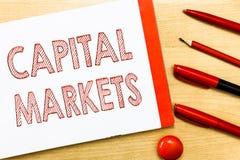 Рынки акций сочинительства текста почерка Смысл концепции позволяет делам поднять фонды путем обеспечивать безопасность рынка стоковое изображение rf