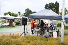 Рынки деревни субботы с местной и органической продукцией, ремеслами стоковое изображение