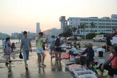 Рынок взморья занятый в shekou ШЭНЬЧЖЭНЕ КИТАЕ AISA Стоковое Изображение