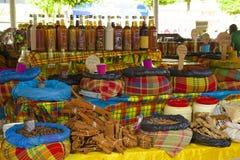 Рынок в Гваделупе, карибской Стоковые Изображения RF