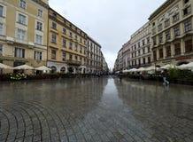 Рынок в Кракове во время дождя стоковая фотография