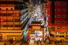 Рынок Гонконг ночи улицы виска стоковое изображение rf