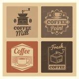 Рынок кофейни или комплект ярлыков знамен кафа или ресторана винтажный бесплатная иллюстрация