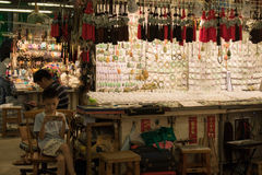 Рынок нефрита на мамах Tei Yau, Гонконге Стоковое Изображение