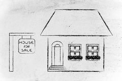 Рынок недвижимости, смешной дом для продажи Стоковое Изображение