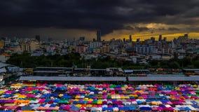 Рынок ночи на Бангкоке сток-видео