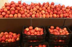 Рынок плодоовощ с много коробок полных гранатовых деревьев стоковое фото rf