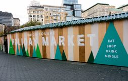 Рынок праздника соединения квадратный в Манхаттане Стоковая Фотография