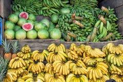 """Рынок, продавая бананы зеленых бананов - """"maduro platano """"и арбузы, Южная Америка, эквадор стоковое изображение rf"""
