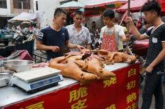 Рынок собачьего мяса Стоковое фото RF