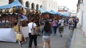 Рынок сувенира в центре Santa Clara акции видеоматериалы
